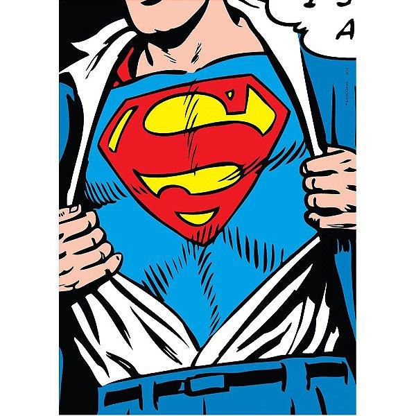 Quadro / Tela Retangular DC Comics Superman Logo Uniforme - 70 x 50 cm