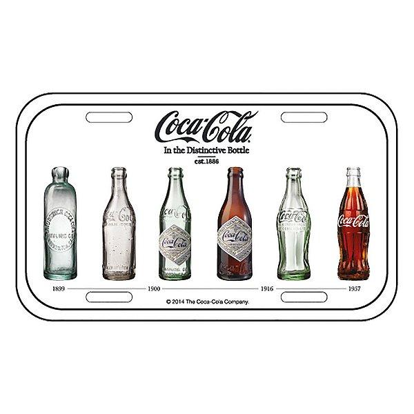 Placa Retangular Decorativa de Metal Coca-Cola Bottle Evolution - 15 x 30 cm