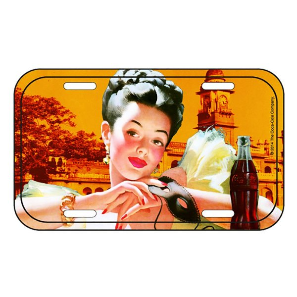 Placa Retangular Decorativa de Metal Coca-Cola Portuguese Pin Up - 15 x 30 cm