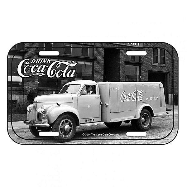 Placa Retangular Decorativa de Metal Coca-Cola Side View Big Truck - 15 x 30 cm