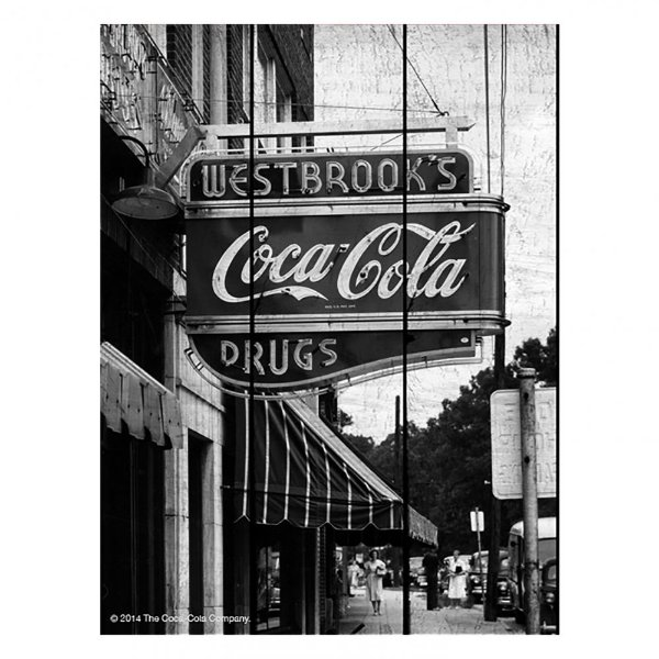 Placa Retangular Decorativa de Madeira Coca-Cola Drug Store Sign - 50 x 36 cm