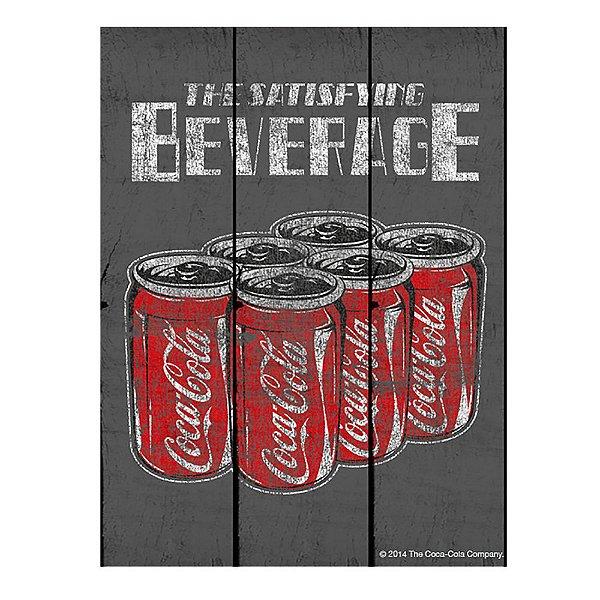 Placa Retangular Decorativa de Madeira Coca-Cola Six Pack Cans The Satisfying Beverage - 50 x 36 cm