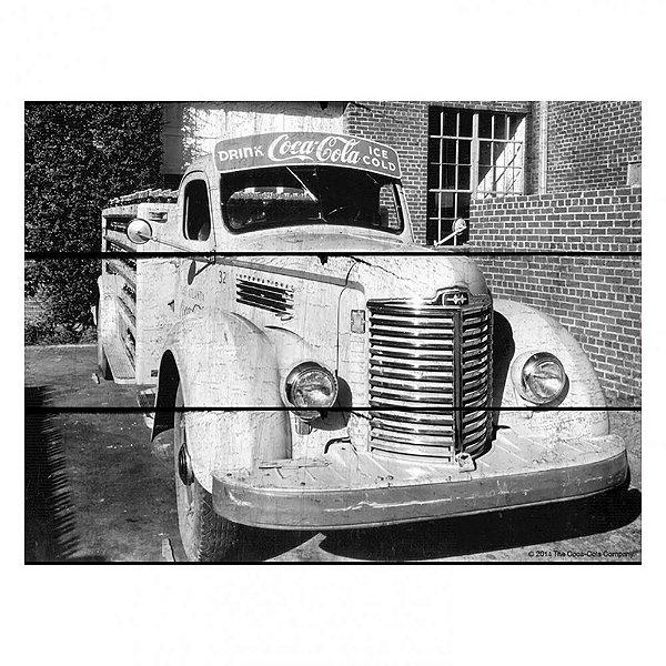 Placa Retangular Decorativa de Madeira Coca-Cola Front View Truck - 36 x 50 cm