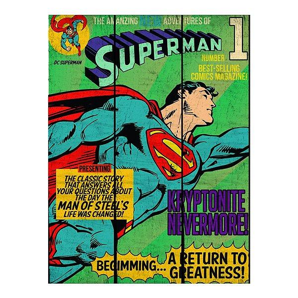 Placa Retangular Decorativa de Madeira DC Comics Superman - 50 x 36 cm