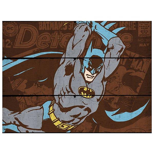 Placa Retangular Decorativa de Madeira DC Comics Batman Attacking Position - 36 x 50 cm
