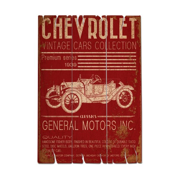 Placa Retangular Decorativa de Madeira GM Chevrolet Vintage Cars Collection - 50 x 35 cm