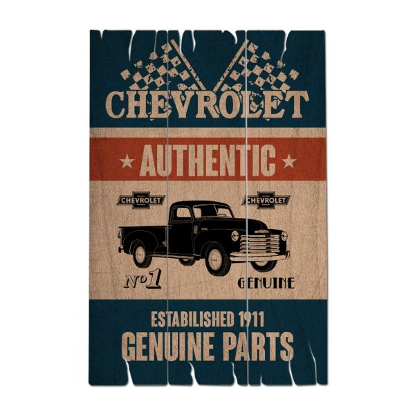 Placa Retangular Decorativa de Madeira GM Vintage Genuine Parts - 50 x 35 cm