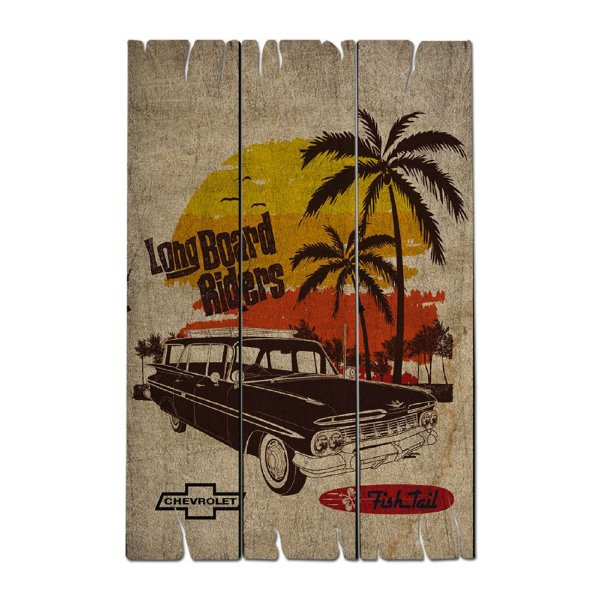 Placa Retangular Decorativa de Madeira GM Vintage Beach Long Board Riders - 50 x 35 cm