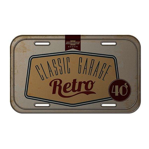 Placa Retangular Decorativa de Metal GM Vintage Classic Garage Retro - 15 x 30 cm
