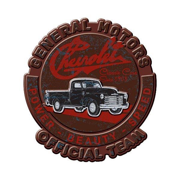 Placa Decorativa de Metal Recortada GM Vintage Power Beauty Speed Official Team - 35 cm