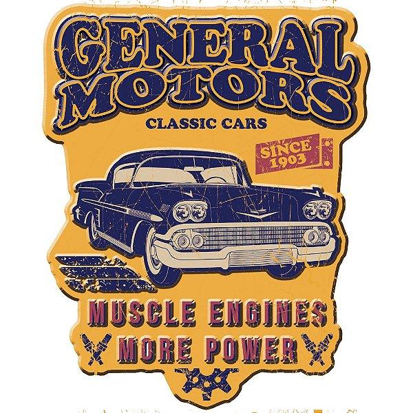 Placa Decorativa de Metal Recortada GM Vintage Classic Car Bel Air Double Light - 46 cm