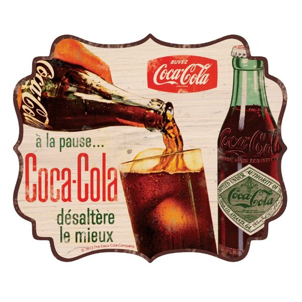 Placa Retangular Decorativa de MDF Coca-Cola Pouring in the Cup - 31 x 38 cm