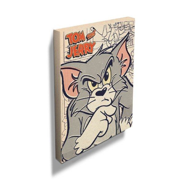 Quadro / Tela Retangular Hanna Barbera Tom and Jerry Mad Cat - 70 x 50 cm
