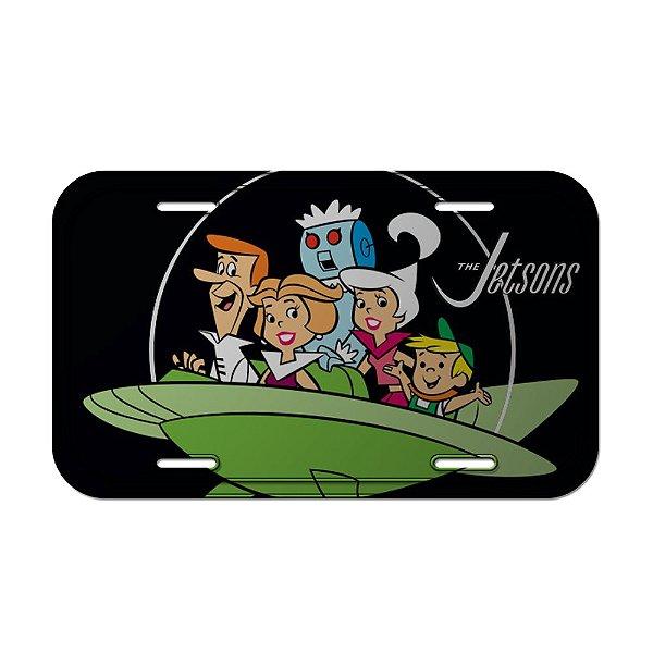 Placa Retangular Decorativa de Metal Hanna Barbera Os Jetsons Passeio em Família - 15 x 30 cm