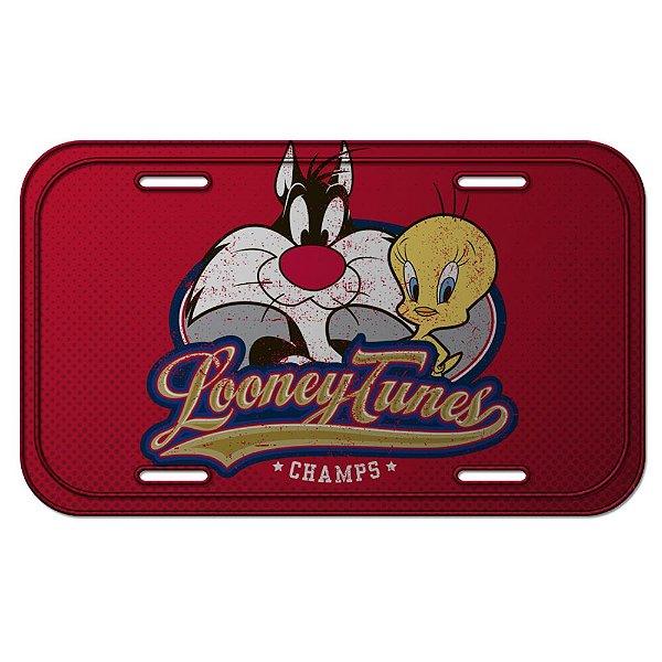 Placa Retangular Decorativa de Metal Looney Tunes Frajola e Piu-Piu - 15 x 30 cm