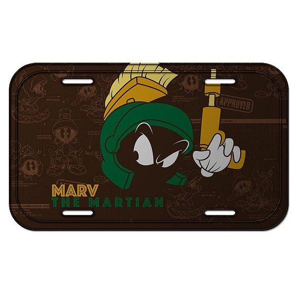 Placa Retangular Decorativa de Metal Looney Tunes Marvin, o Marciano - 15 x 30 cm