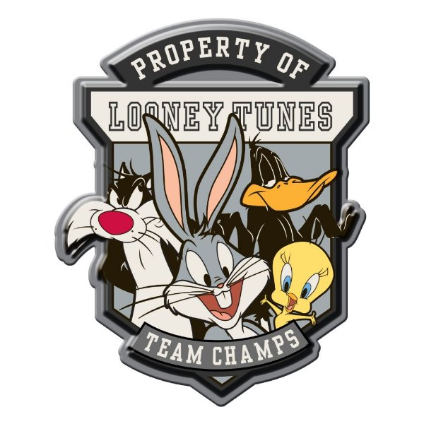 Placa Decorativa de Metal Recortada Looney Tunes Team Champs - 40 x 35 cm