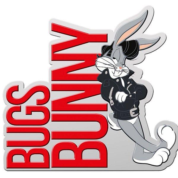 Placa Decorativa de Metal Recortada Looney Tunes Bugs Bunny Charming - 40 x 28 cm