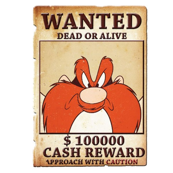 Placa Decorativa de Metal Recortada Looney Tunes Eufrazino Procurado - 40 x 28 cm