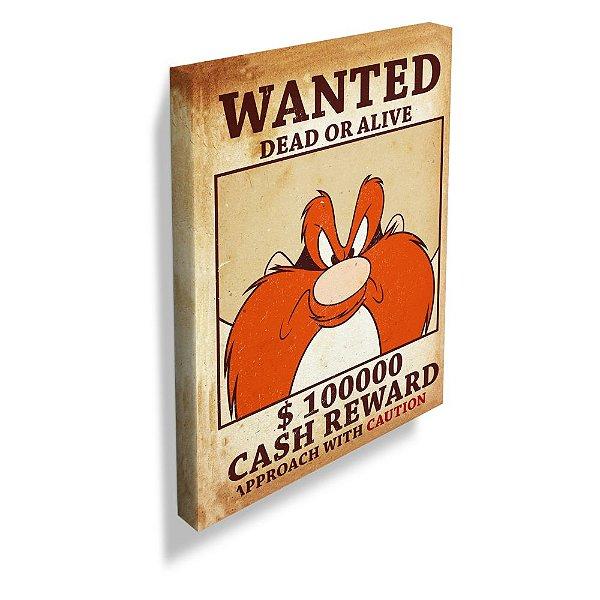 Quadro / Tela Retangular Looney Tunes Eufrazino Procurado - 70 x 50 cm