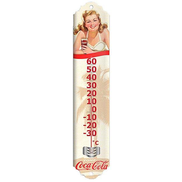 Objeto Decorativo Termômetro de Metal Coca-Cola Pin Up Have a Coke Here - 40 cm