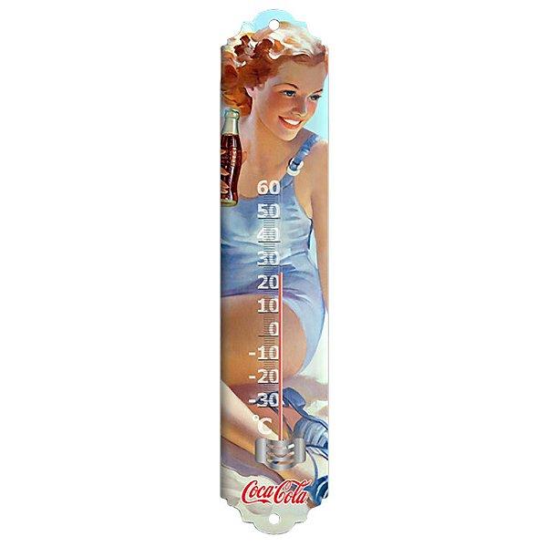 Objeto Decorativo Termômetro de Metal Coca-Cola Pin Up in the Beach - 40 cm