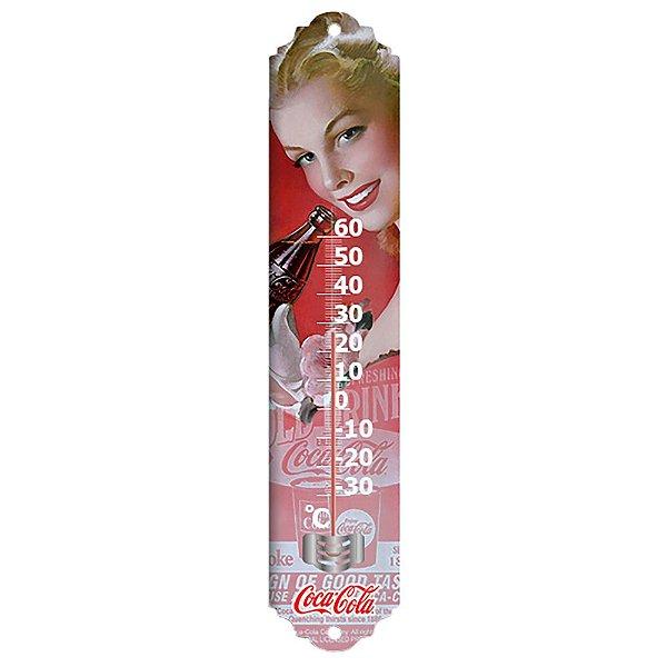 Objeto Decorativo Termômetro de Metal Coca-Cola Pin Up Blond Lady Face - 40 cm