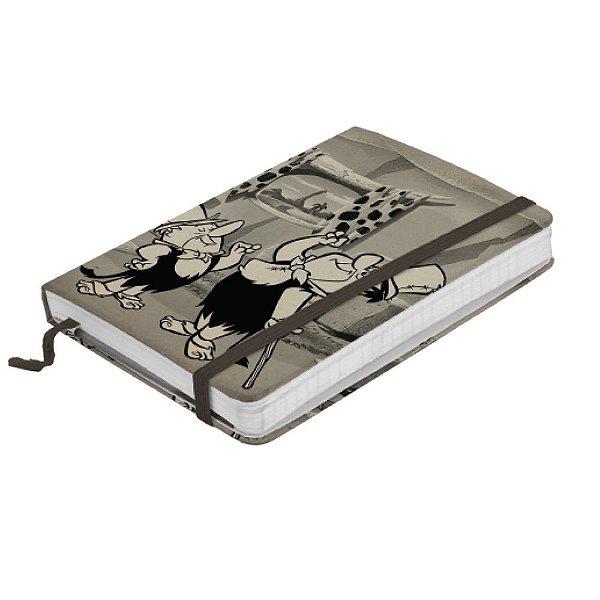 Caderneta de Anotação com Elástico 80 Folhas Hanna Barbera Os Flintstones Fred e Barney - 14 x 10 cm
