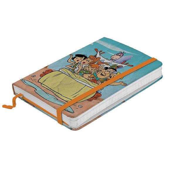 Caderneta de Anotação com Elástico 80 Folhas HB Os Flintstones Passeio em Família - 21 x 14 cm