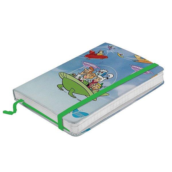 Caderneta de Anotação com Elástico 80 Fls Hanna Barbera Os Jetsons Passeio em Família - 21 x 14 cm