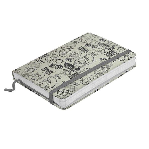 Caderneta de Anotação com Elástico 80 Folhas Hanna Barbera Scooby-Doo e Salsicha Faces - 14 x 10 cm