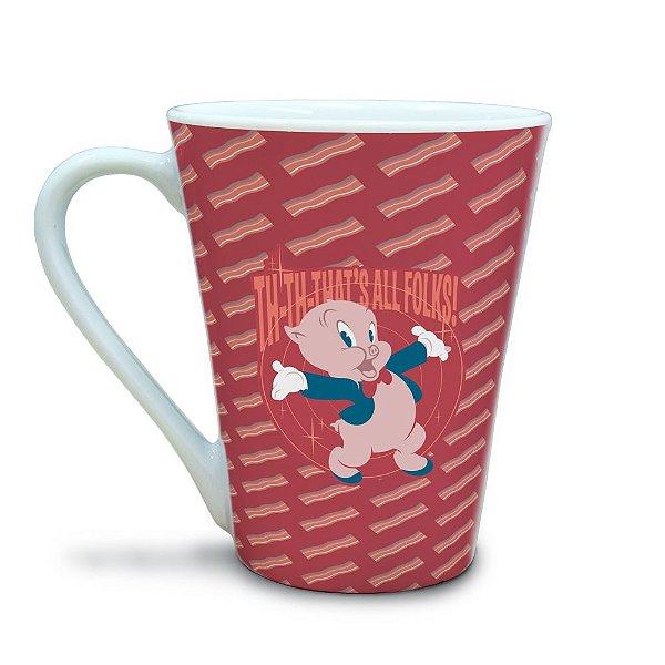 Caneca Tulipa de Porcelana Looney Tunes Gaguinho Th-Th That's All Folks! - 310 ml