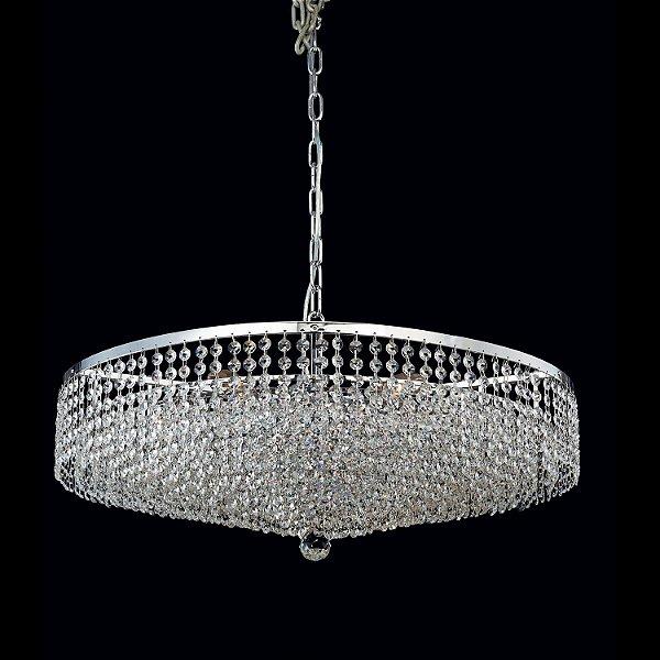 Lustre Morleans 8 x E14 Cromado e Transparente Bella Iluminação - 170 x 70 cm