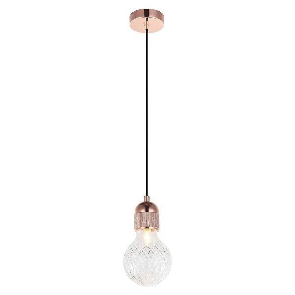 Pendente Petit de Metal 1 x G9 Cobre e Transparente Bella Iluminação - 18 x 9 cm