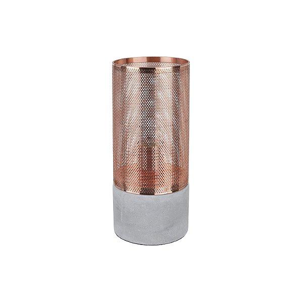 Abajur Telinha Concret 1 x E27 Cobre e Cinza Bella Iluminação - 28 x 12 cm