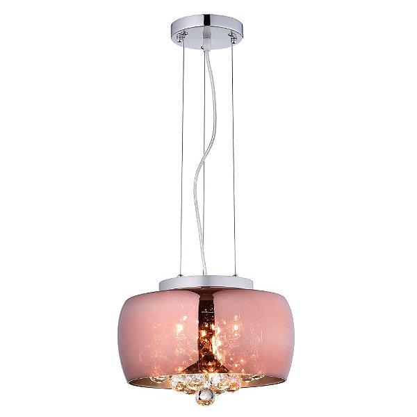 Pendente / Plafon Soho 3 x G9 Cobre e Transparente Bella Iluminação - 17 x 28 cm