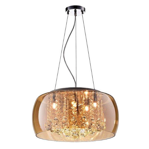Pendente / Plafon Soho 6 x G9 Âmbar e Transparente Bella Iluminação - 20 x 50 cm