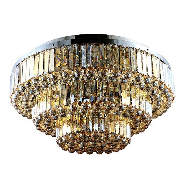 Lustre Dijon 13 x E14 Âmbar e Cromado Bella Iluminação - 38 x 80 cm