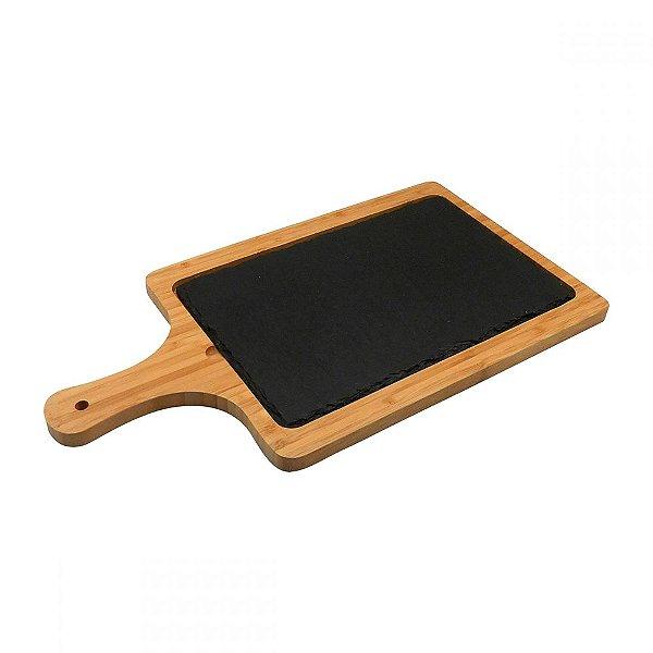 Tábua de Queijo de Pedra Escura e Bambu - 45 x 25 cm