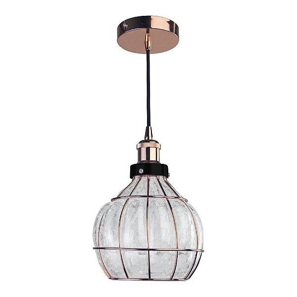 Pendente Vitti 1 x E27 Cobre e Transparente Bella Iluminação - 22 x 19 cm