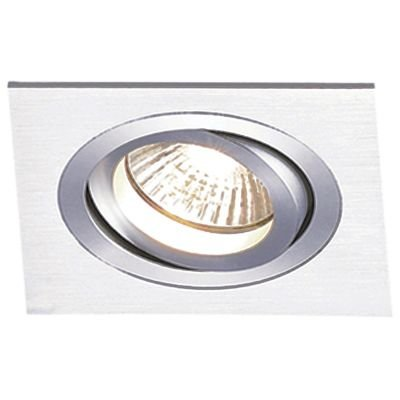 Spot Embutido Quadrado Ecco 1 x Dicróica Alumínio Escovado Bella Iluminação - 9,2 cm