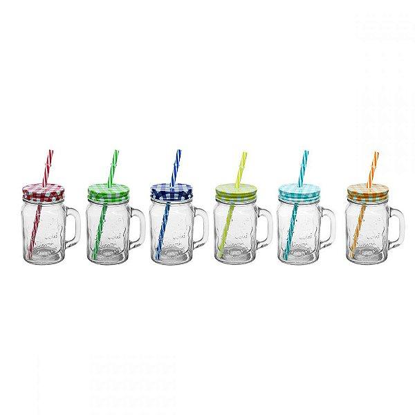 Conjunto de Copos de Vidro tipo Mason Jars com Tampas e Canudos Coloridos 425 ml - 6 Peças