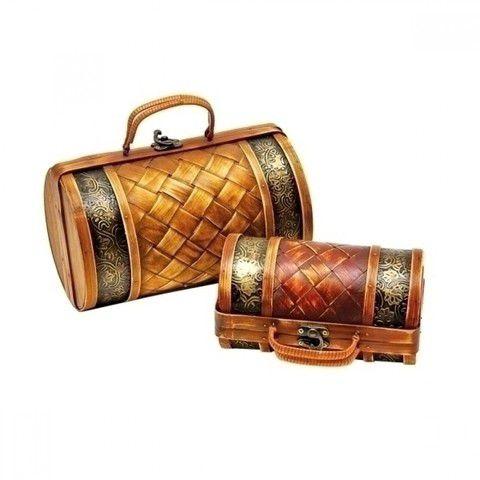 Conjunto de Baús de Bambu formato Bolsas - 2 Peças
