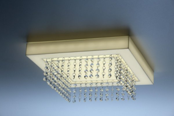 Plafon LED Sobrepor de Acrílico e Alumínio Endy Branco com Cristais - Bella Italia