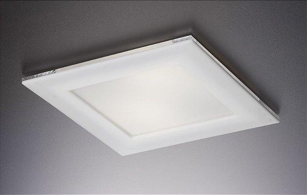 Plafon LED Embutir de Acrílico e Alumínio Doppio Branco / Fosco - Bella Italia