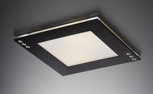 Plafon LED Embutir de Acrílico e Alumínio Doppio Strass Preto / Branco - Bella Italia