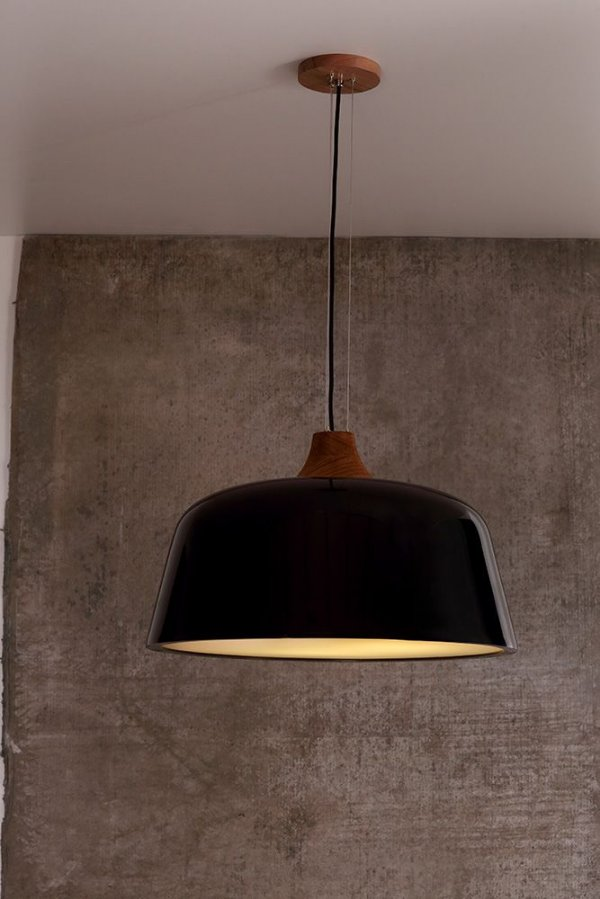Pendente de Acrílico e Madeira Louise Wood 3 x E27 Preto - Bella Italia