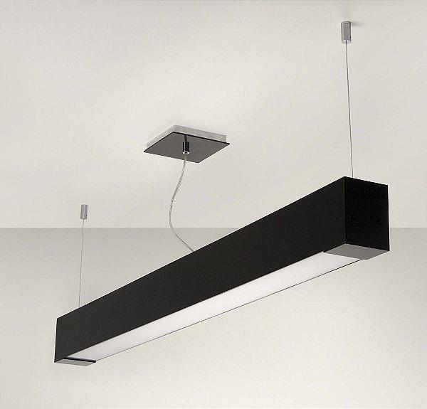 Pendente de Acrílico e Alumínio Allora 2 x T8 LED Preto - Bella Italia