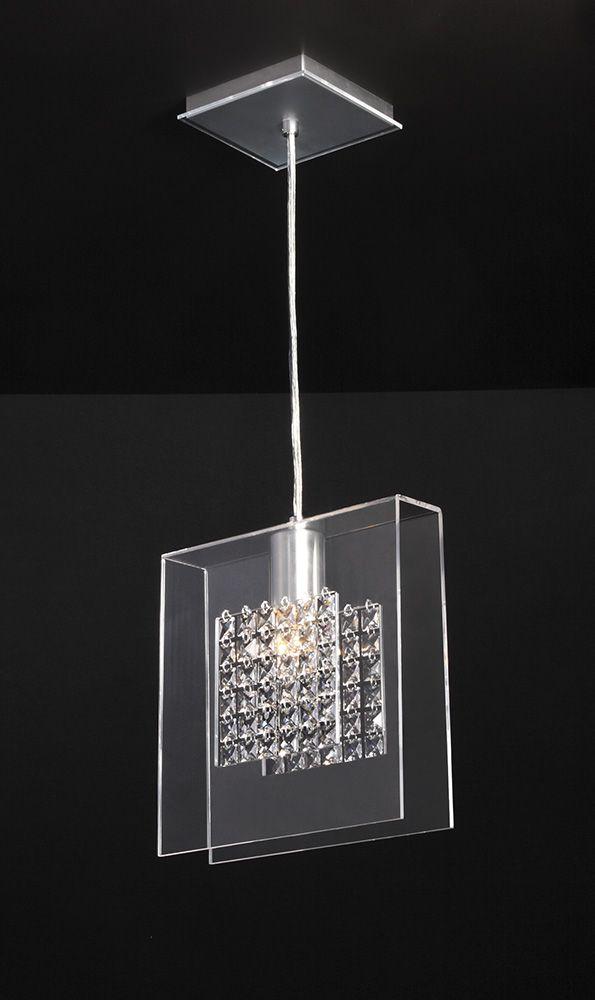 Pendente de Acrílico Finestra com Cristais E27 Cristal / Transparente - Bella Italia