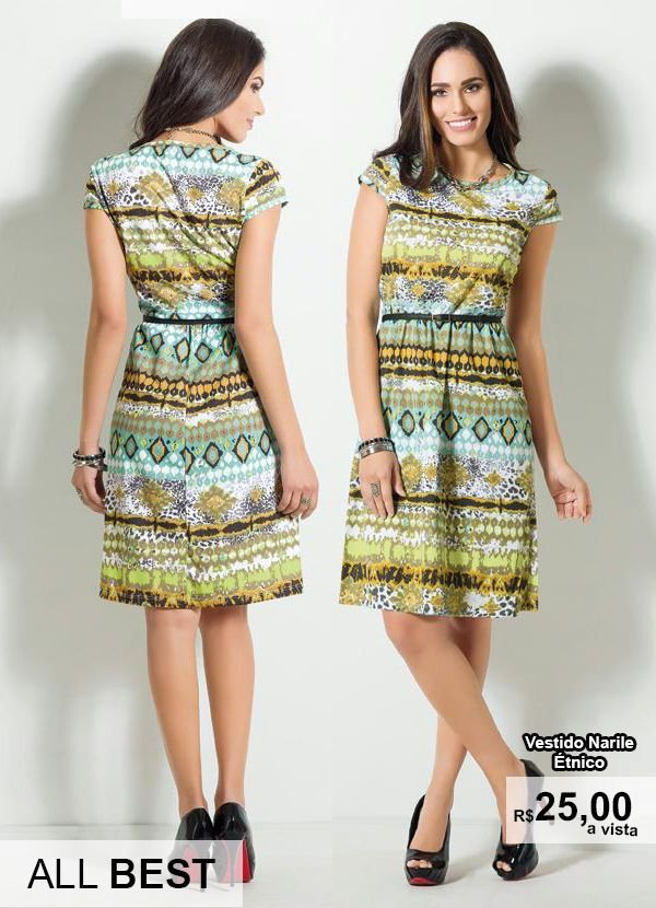 Vestido Manga Curta Estampa Étnica